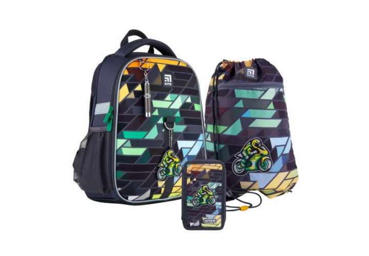 Набор рюкзак+пенал+сумка для обуви Kite 555 Motorbike